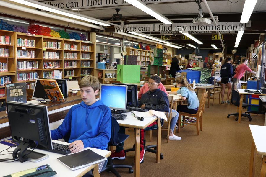Students working in the Henry James Library Media Center