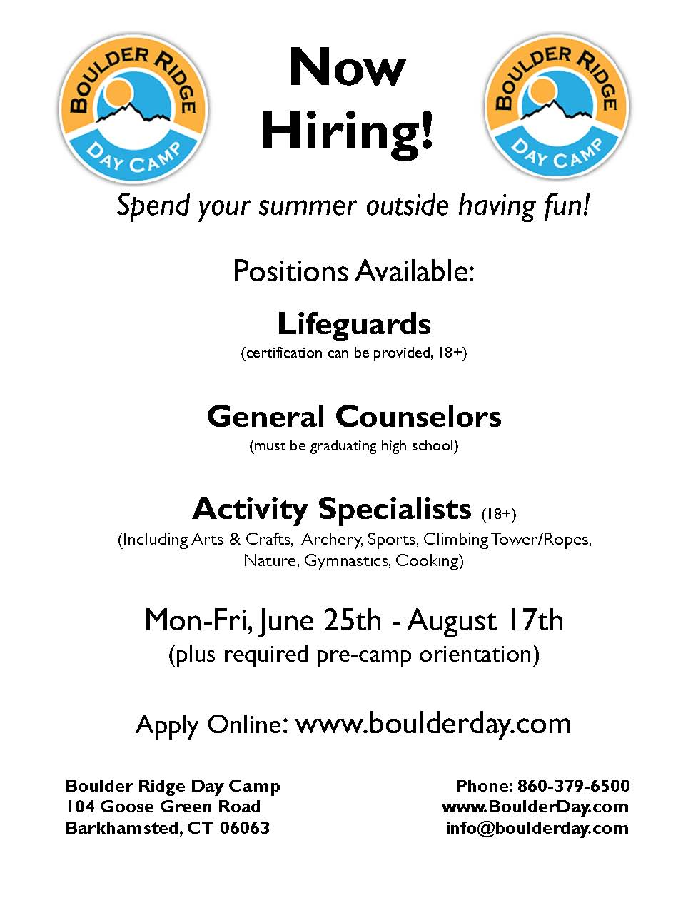 Summer Job Opportunity at Boulder Ridge Day Camp